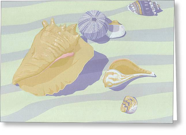 Sea Shells - Seashells - Retro - Pop Art - Beach Decor - Square Format - 1980s Painting Greeting Card by Walt Curlee