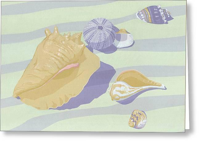 Sea Shells - Seashells - Retro - Pop Art - Beach Decor - Square Format - 1980s Painting Greeting Card