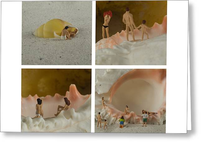 Sea Shells With Preiser Figurines Number Two Greeting Card by Rolf Bertram