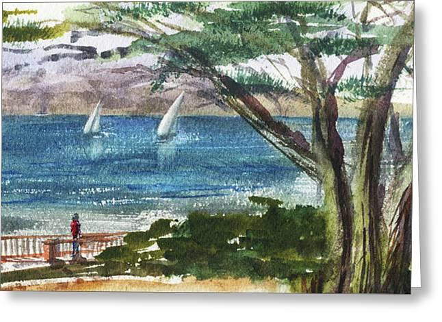 Sea Shore Elongated Painting Greeting Card by Irina Sztukowski
