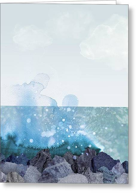 Sea Shore Greeting Card by Varpu Kronholm