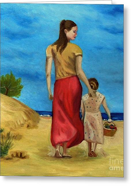 Sea Side Walk After Pino Greeting Card by Kostas Koutsoukanidis