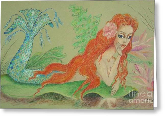 Sea Siren, Resting -- Whimsical Mermaid Drawing Greeting Card