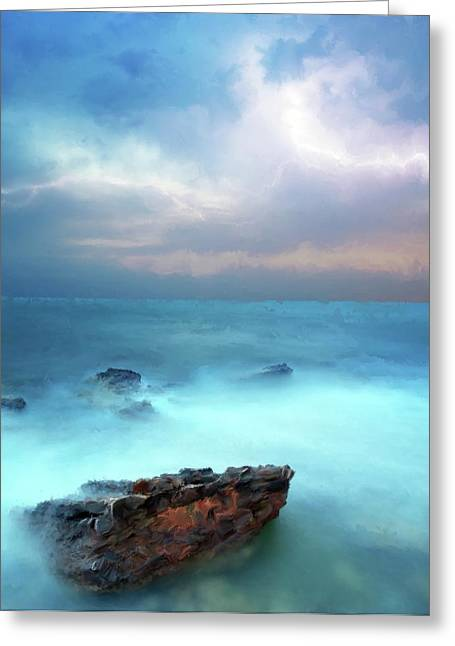 Sea Sky And Stone Greeting Card by Michael Greenaway