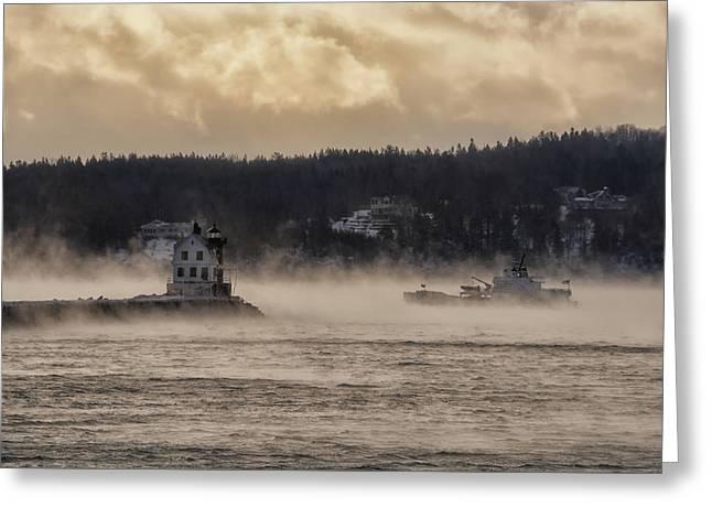 Sea Smoke At Rockland Breakwater Light Greeting Card