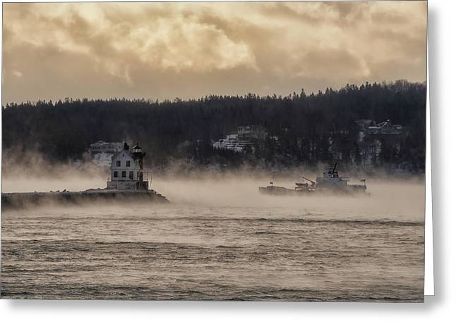 Sea Smoke At Rockland Breakwater Light Greeting Card
