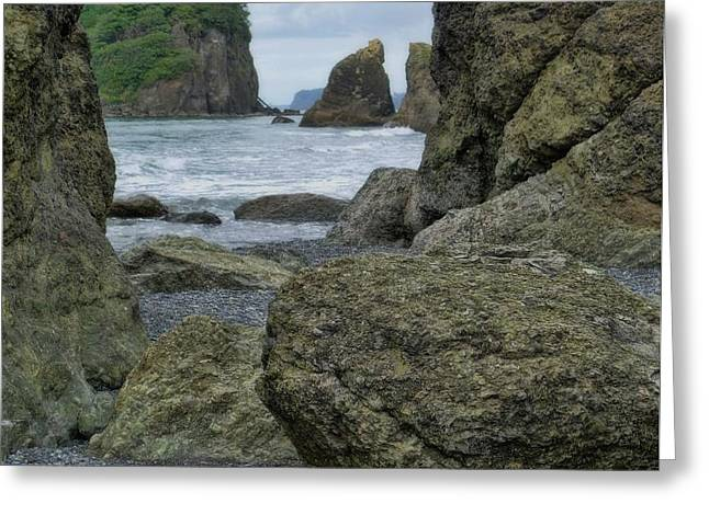Sea Stacks And Boulders Washington State Greeting Card by Dan Sproul