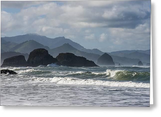 Sea Stacks And Surf Greeting Card