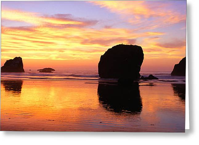 Sea Stacks Rock Formations, Sunset Greeting Card by Panoramic Images
