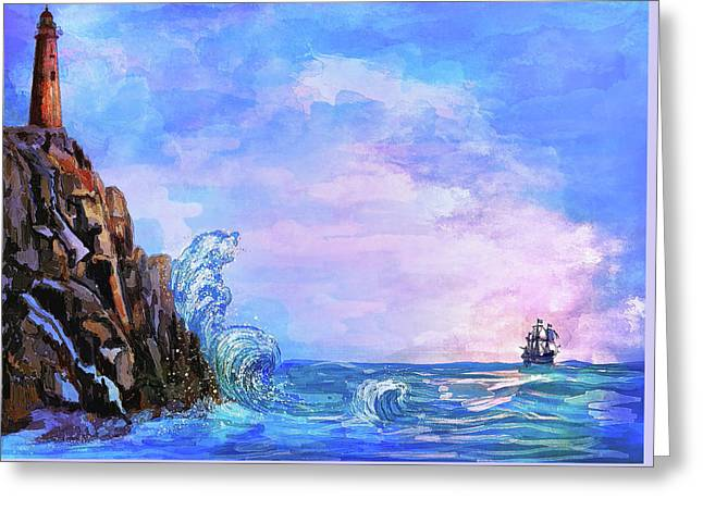 Greeting Card featuring the painting Sea Stories 2  by Andrzej Szczerski