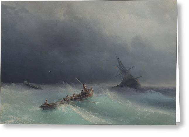 Sea Storm 1873  Greeting Card by Ivan Konstantinovich Aivazovsky