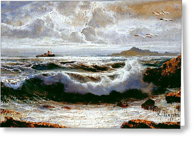 Greeting Card featuring the painting Sea Storm by Rosario Piazza