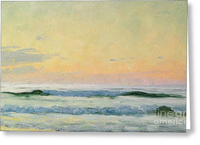 Sunrise On Beach Greeting Cards - Sea Study Greeting Card by AS Stokes
