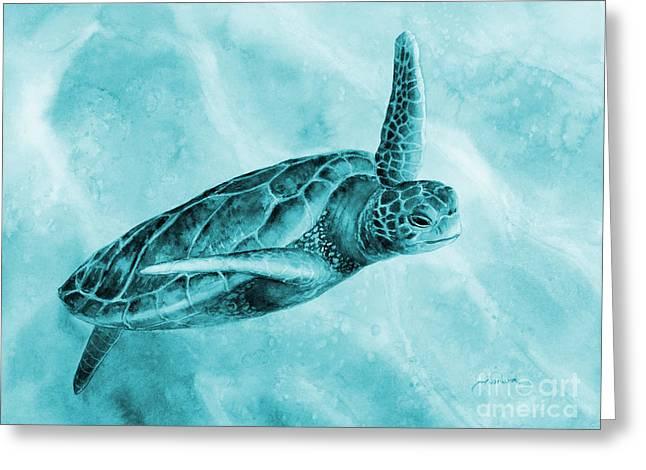 Sea Turtle 2 On Blue Greeting Card