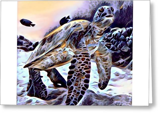 Sea Turtle 4 Print  Greeting Card by Scott Wallace