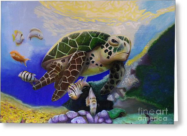 Greeting Card featuring the painting Sea Turtle Acrylic Painting by Thomas J Herring