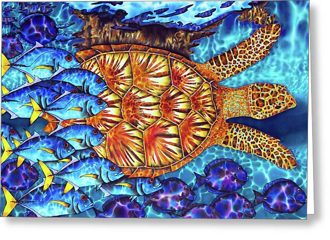 Sea Turtle And Fish Greeting Card by Daniel Jean-Baptiste