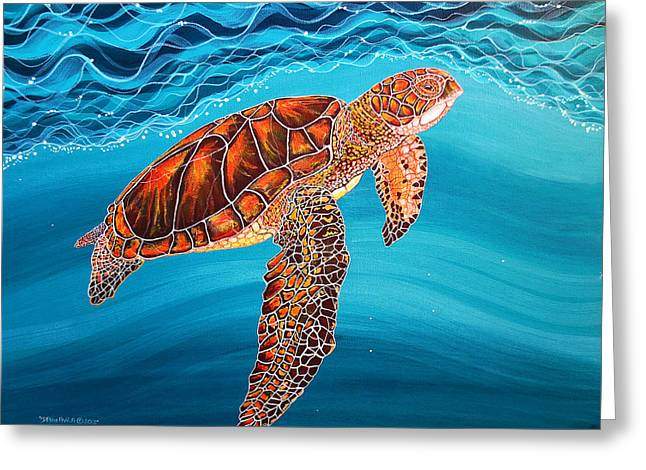 Greeting Card featuring the painting Sea Turtle by Debbie Chamberlin