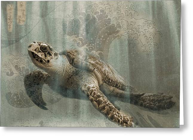 Sea Turtle Great Wave Greeting Card by Karla Beatty