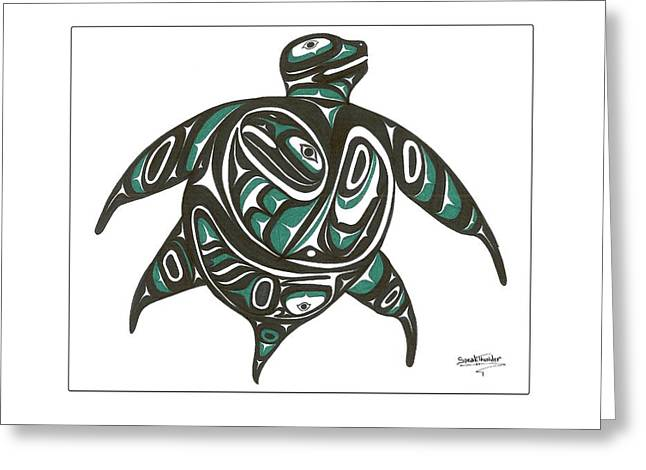 Sea Turtle Green Greeting Card by Speakthunder Berry