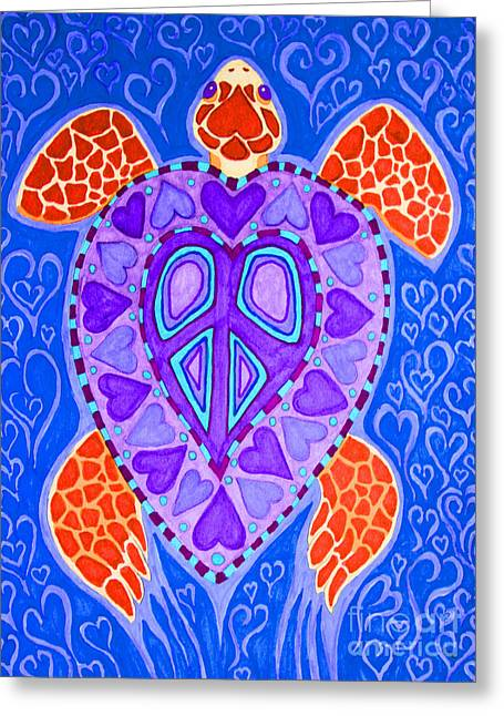 Sea Turtle Hearts 2 Greeting Card by Nick Gustafson