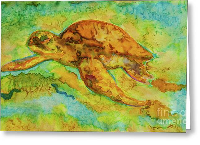 Sea Turtle Greeting Card by Jacqueline Phillips-Weatherly