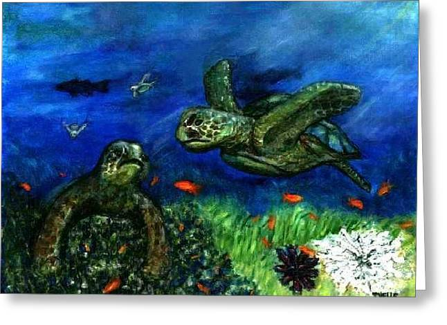Sea Turtle Rendezvous Greeting Card by Tanna Lee M Wells