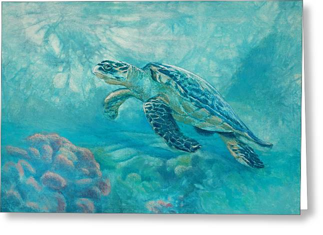 Sea Turtle Greeting Card by Vicky Russell