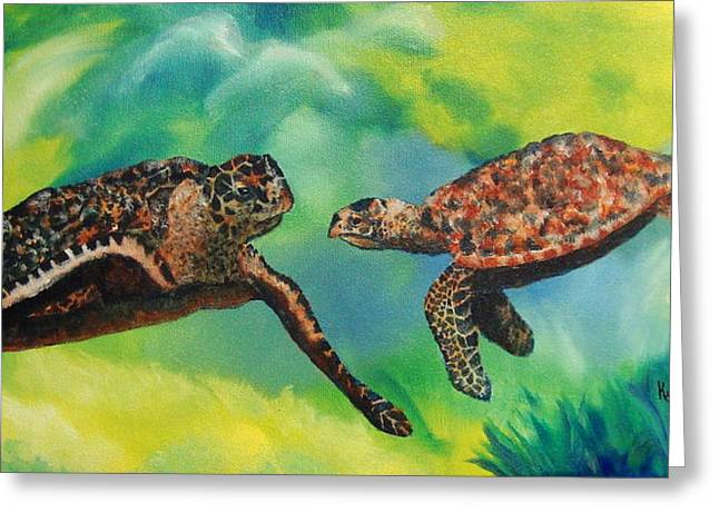 Sea Turtles And Dolphins Greeting Card by Susan Kubes