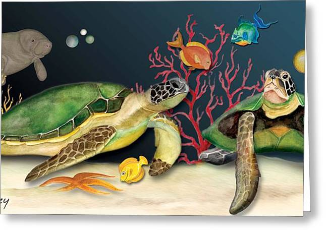 Greeting Card featuring the painting Sea Turtles by Anne Beverley-Stamps