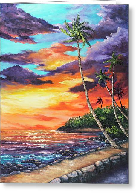 Greeting Card featuring the painting Sea Wall Lahaina by Darice Machel McGuire