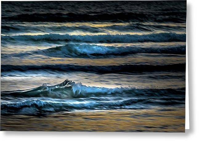 Sea Waves After Sunset Greeting Card