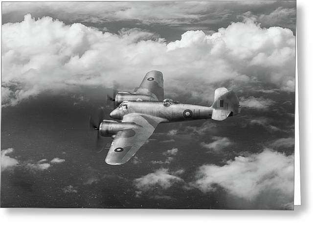 Greeting Card featuring the photograph Seac Beaufighter Bw Version by Gary Eason