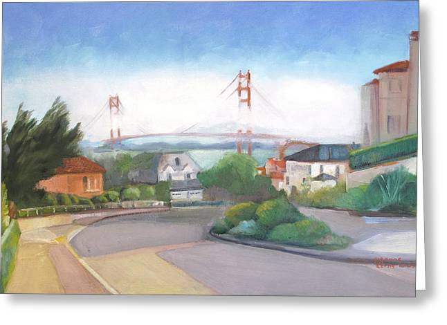 Seacliff Vision With Golden Gate Bridge In Fog Greeting Card
