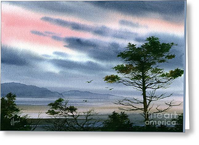 Seacoast Winter Sunset Greeting Card by James Williamson