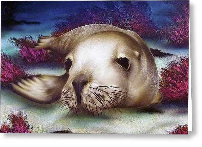 Sea Lions Mixed Media Greeting Cards - SeaDog Greeting Card by Bryon Lucas