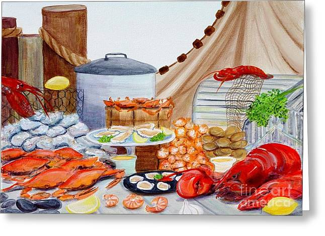 Seafood Feast Greeting Card by Pauline Ross