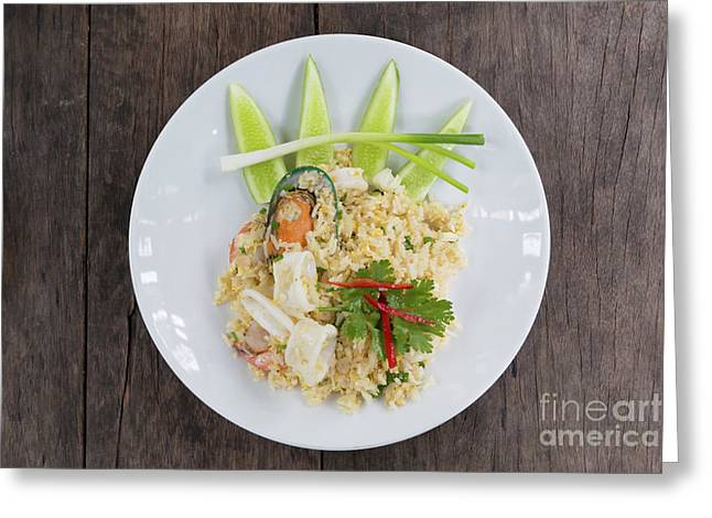 Seafood Fried Rice Greeting Card by Atiketta Sangasaeng