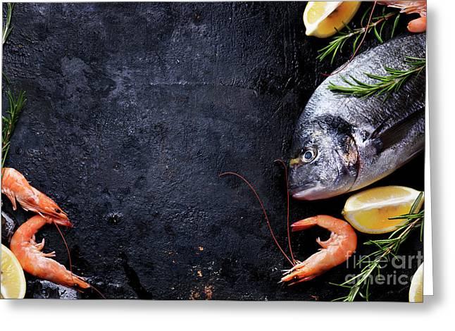 Seafood On Black Background Greeting Card by Jelena Jovanovic