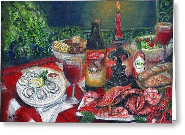 Seafood Soiree Greeting Card by Karryn Arthur