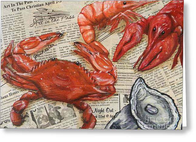 Lemon Art Greeting Cards - Seafood Special Edition Greeting Card by JoAnn Wheeler