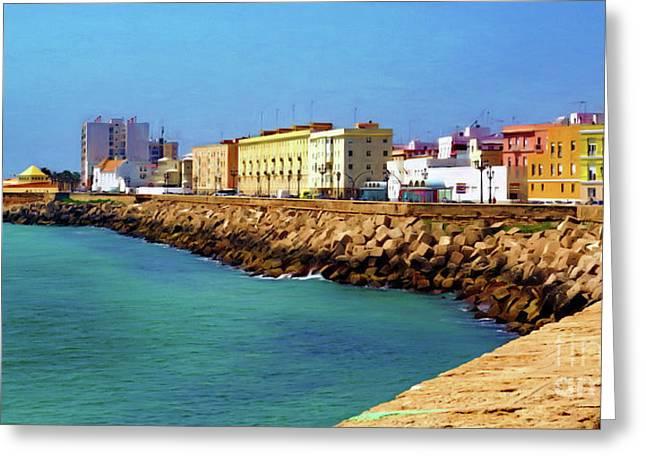 Seafront Promenade In Cadiz Greeting Card