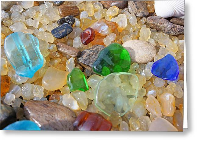 Seaglass Art Prints Sea Glass Agates Greeting Card