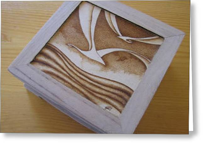 Flying Seagull Pyrography Greeting Cards - Seagull Box Greeting Card by Ilaria Andreucci