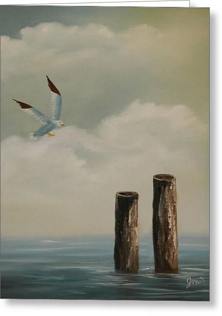 Seagull Landing Greeting Card by Joni McPherson