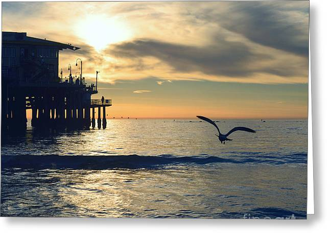 Seagull Pier Sunrise Seascape C2 Greeting Card