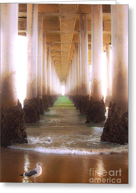 Greeting Card featuring the photograph Seagull Under The Pier by Jerry Cowart