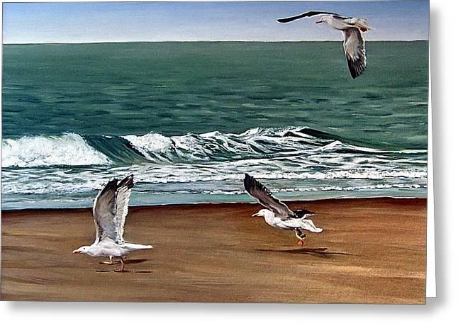 Seagulls 2 Greeting Card by Natalia Tejera