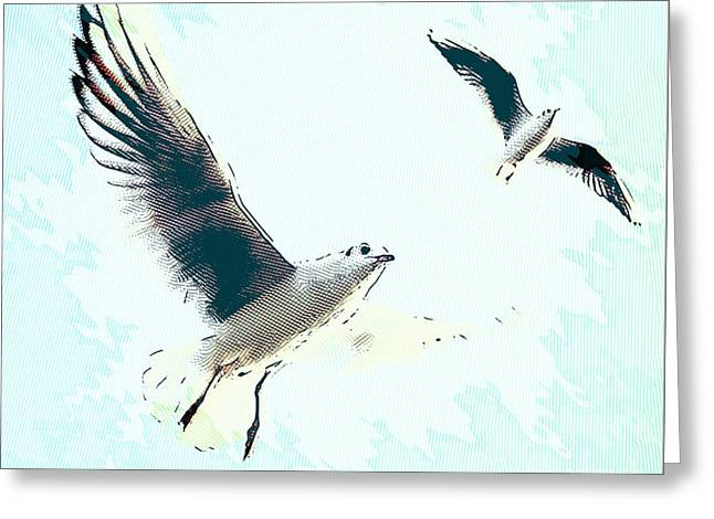 Seagulls Greeting Card by Angela Doelling AD DESIGN Photo and PhotoArt