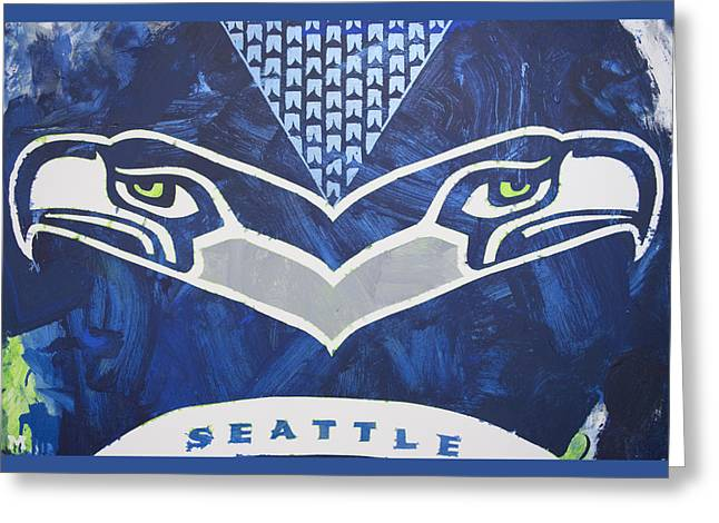 Greeting Card featuring the painting Seahawks Helmet by Candace Shrope